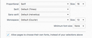Dialog box for a browser's font settings