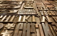 Various printing plates representing different fonts