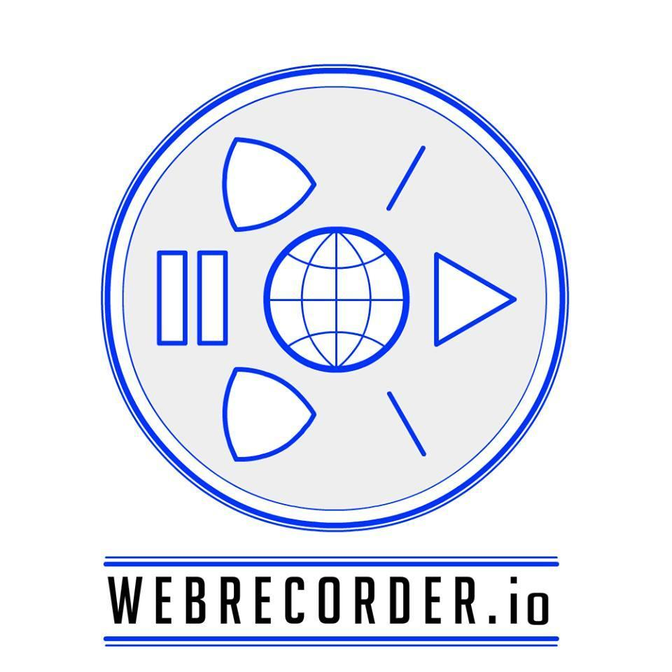 "Webrecorder's logo containing a graphic and url displayed as ""WEBRECORDERr.io"""
