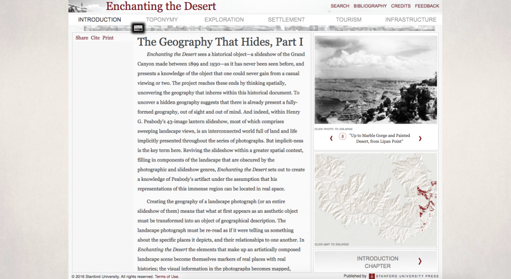 Screenshot of Enchanting the Desert showing an essay, a photo, and a map