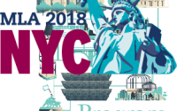 MLA 2018 conference graphic w statue of liberty overlayed on AHA 2018 program cover