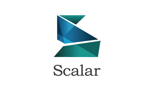 "Scalar logo, stylized letter ""S"" with name underneath"