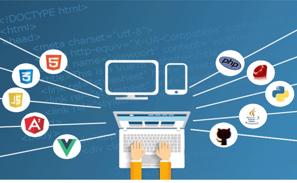 computer clip art surrounded by logo icons for frameworks and languages
