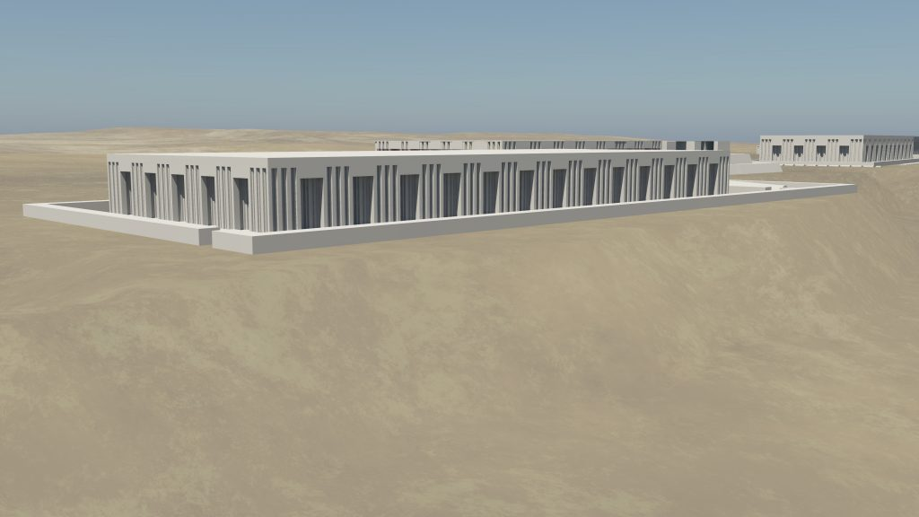 3D model render of a Dynasty 1 mastaba tomb (3506), with elaborate exterior niching on façade