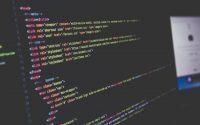 Computer screen displaying html source code